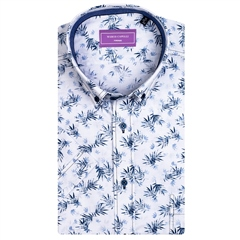 White - Leaves Print Short Sleeve Shirt by Marco Capelli