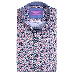 Red - Avocado Print Short Sleeve Shirt by Marco Capelli