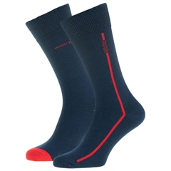 Hugo Boss Navy - 2 Pack Boss Logo Stripe Socks