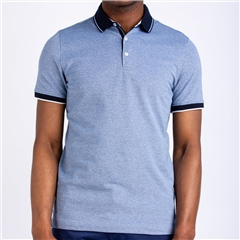 Blue - Two Tone Oxford Polo Shirt by Marco Capelli