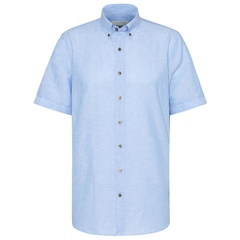 Bugatti Light Blue - Cotton Linen Short Sleve Shirt