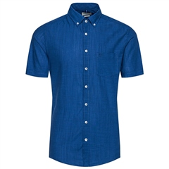 Bugatti Blue - Cotton Linen Short Sleve Shirt