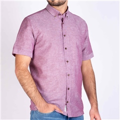 Bugatti Plum - Cotton Linen Short Sleeve Shirt