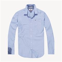 Light Blue - Regular Fit End On End Cotton Shirt by Tommy Jeans