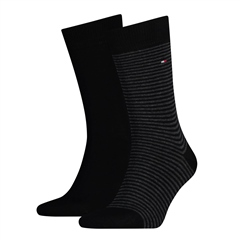 Black - 2 Pack Slim Stripe Socks by Tommy Hilfiger