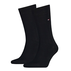 Black - 2 Pack Solid Colour Socks by Tommy Hilfiger