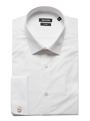 White - Tapered Fit Cotton Shirt by Remus Uomo