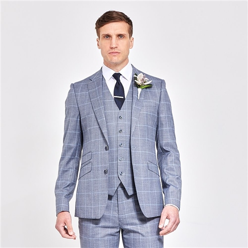 Herbie Frogg Grey - Check Three Piece Suit  - Click to view a larger image