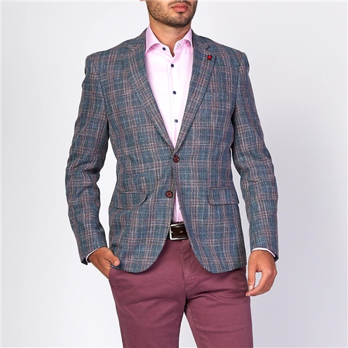 Marco Capelli Blue - Summer Check Blazer  - Click to view a larger image