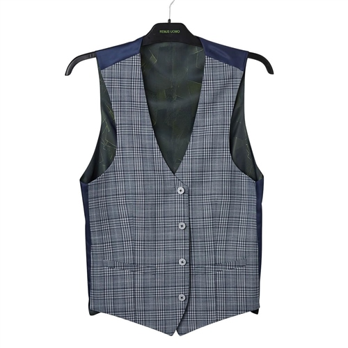 Remus Uomo Blue - Check Waistcoat  - Click to view a larger image