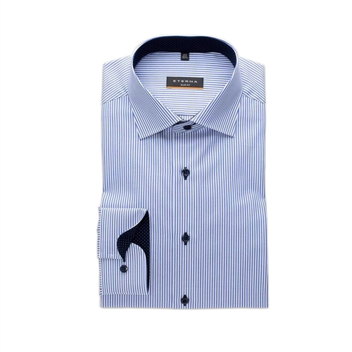 Eterna Dark Blue - Slim Fit Stripe Shirt  - Click to view a larger image