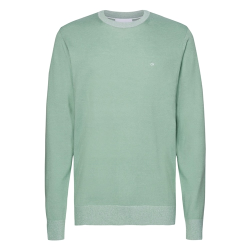 Calvin Klein Green - Cotton Silk Crew Neck Sweater  - Click to view a larger image