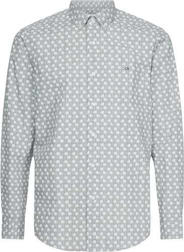 Calvin Klein Light Grey - Button Down Micro Palm Print  - Click to view a larger image