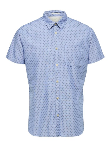 Selected Light Blue - Matthew Sf Shirt Aop  - Click to view a larger image