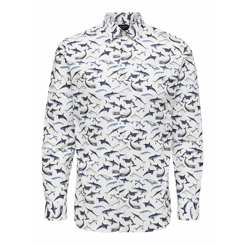 Selected Multi - Pen Jerry Shark Print Shirt  - Click to view a larger image
