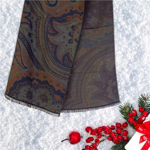 Bugatti Navy - Double Sided Paisley Scarf  - Click to view a larger image