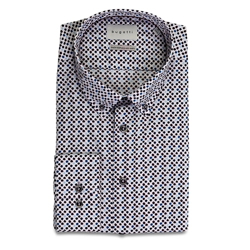 Bugatti Multi - Geo Print Button Down Cotton Shirt  - Click to view a larger image