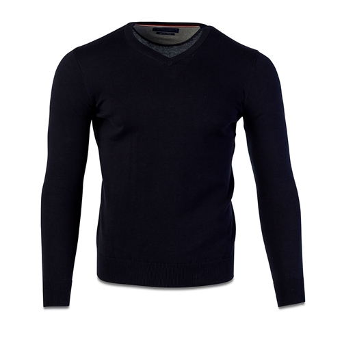 Marco Capelli Navy - Pure Cotton V Neck Knit  - Click to view a larger image