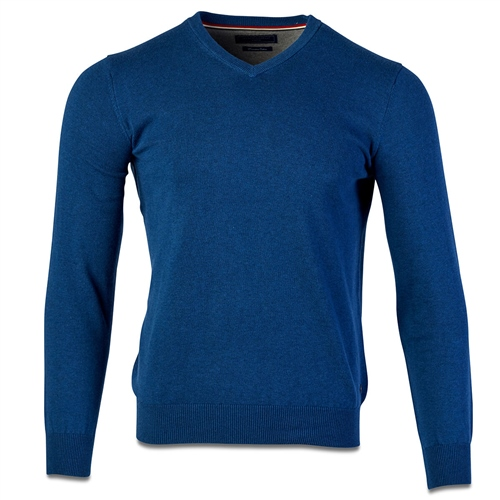 Marco Capelli French Blue - Pure Cotton V Neck Knit  - Click to view a larger image