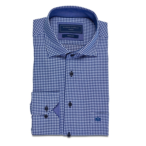 Marco Capelli Blue - Gingham Shirt  - Click to view a larger image