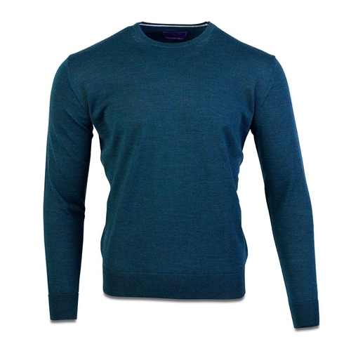 Marco Capelli Teal - Merino Wool Crew Neck Knit  - Click to view a larger image