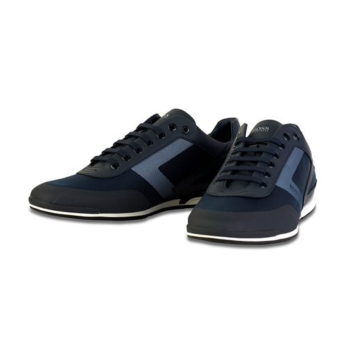 Hugo Boss Navy - Saturn Top Leather Trainers  - Click to view a larger image