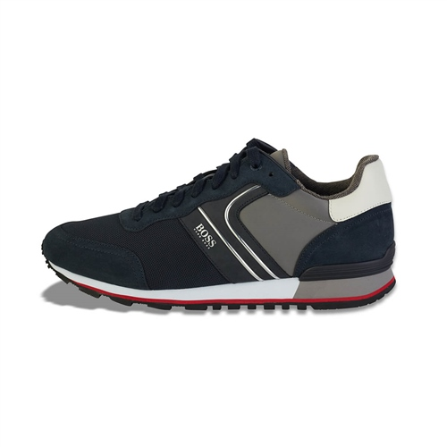 Hugo Boss Navy - Parkour Leather Mesh Runner  - Click to view a larger image