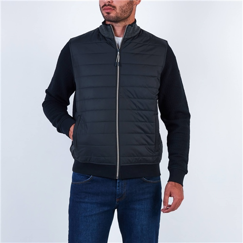 Bugatti Navy - Full Zip Quilt Front Panel Sweat Jacket  - Click to view a larger image