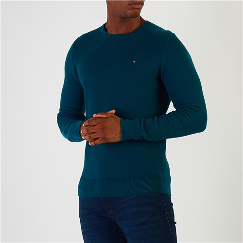 Tommy Hilfiger Teal - Honeycomb Knit Crew Neck Jumper  - Click to view a larger image