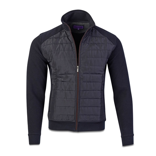 Marco Capelli Navy - Padded James Quilted Sweat Jacket I  - Click to view a larger image