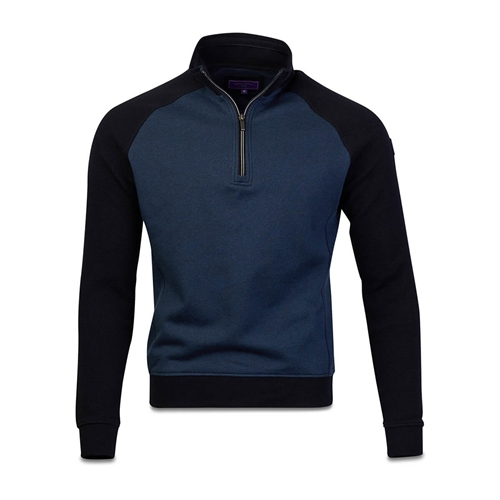 Marco Capelli Navy - Two Tone Structured Sweat Jumper  - Click to view a larger image