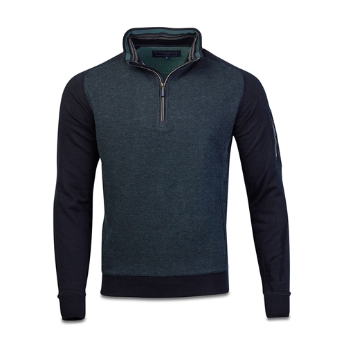 Marco Capelli Teal - Two Tone Sueded Jacquard Half Zip  - Click to view a larger image