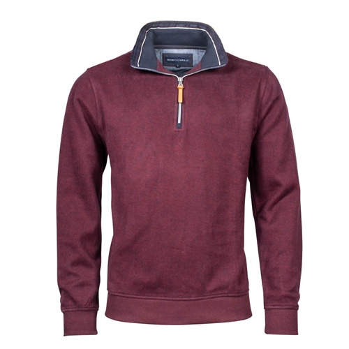 Marco Capelli Burgundy - Soft Suedine Half Zip Jumper  - Click to view a larger image