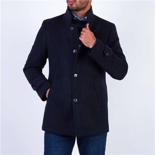 Marco Capelli Navy - Wool Tailored Fit Coat  - Click to view a larger image