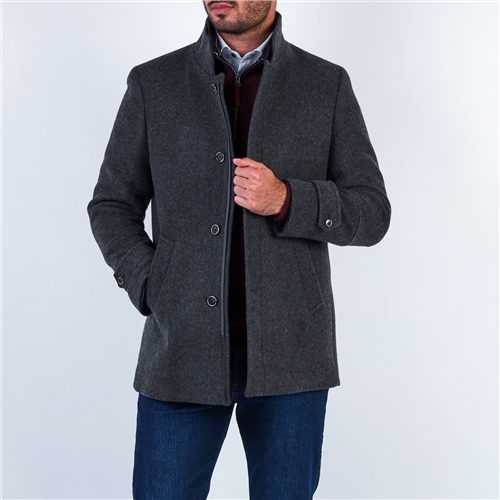 Marco Capelli Charcoal - Wool Tailored Fit Coat  - Click to view a larger image