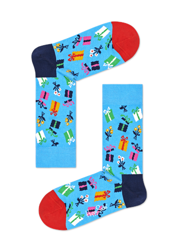 Happy Socks Blue - Gift Parcel Socks  - Click to view a larger image