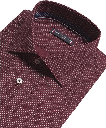 Tommy Hilfiger Burgundy - Poplin Print Slim Shirt Ls  - Click to view a larger image