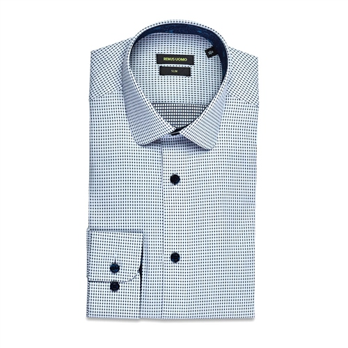 Remus Uomo Blue - Slim Fit Lucas Detail Shirt  - Click to view a larger image