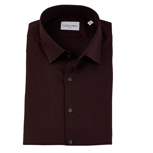 Calvin Klein Wine - Dobby Easy Care Slim Shirt Ls  - Click to view a larger image