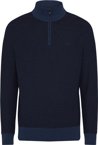 Calvin Klein Dark Denim - Two Tone Micro Stitch Half Zip Knit  - Click to view a larger image
