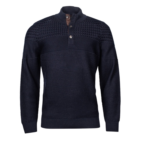 Marco Capelli Navy - Structured Button Neck Knit  - Click to view a larger image