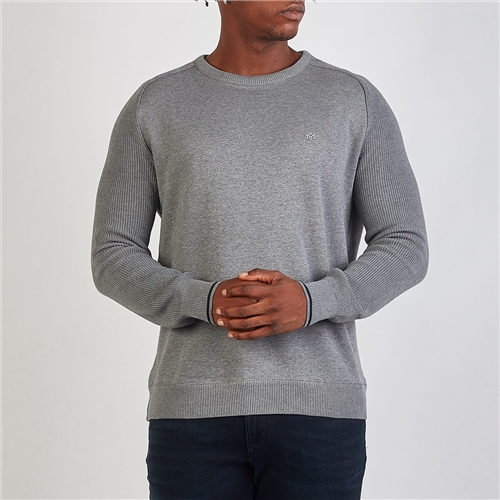 Marco Capelli Light Grey - French Terry Knit Sleeve Sweat  - Click to view a larger image