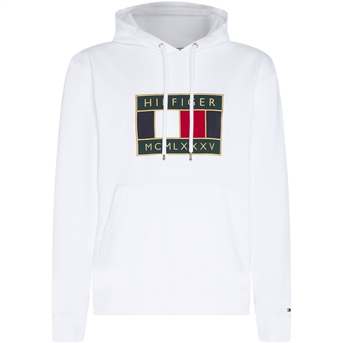 Tommy Hilfiger White - Tommy Icon Badge Hooded Sweatshirt  - Click to view a larger image