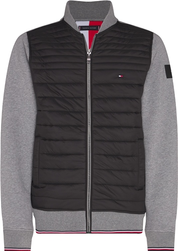 Tommy Hilfiger Dark Grey - Mixed Media Baseball Zip Through Jacket  - Click to view a larger image