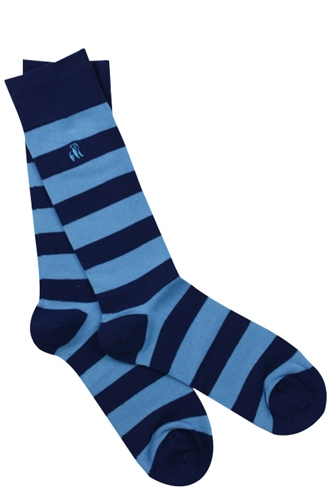 Swole Panda Sky Blue - Blue Stripe Socks 1