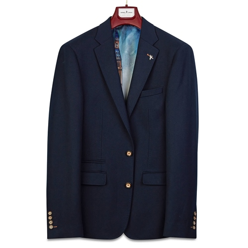 Herbie Frogg Navy - Honeycomb Tailored Blazer  - Click to view a larger image