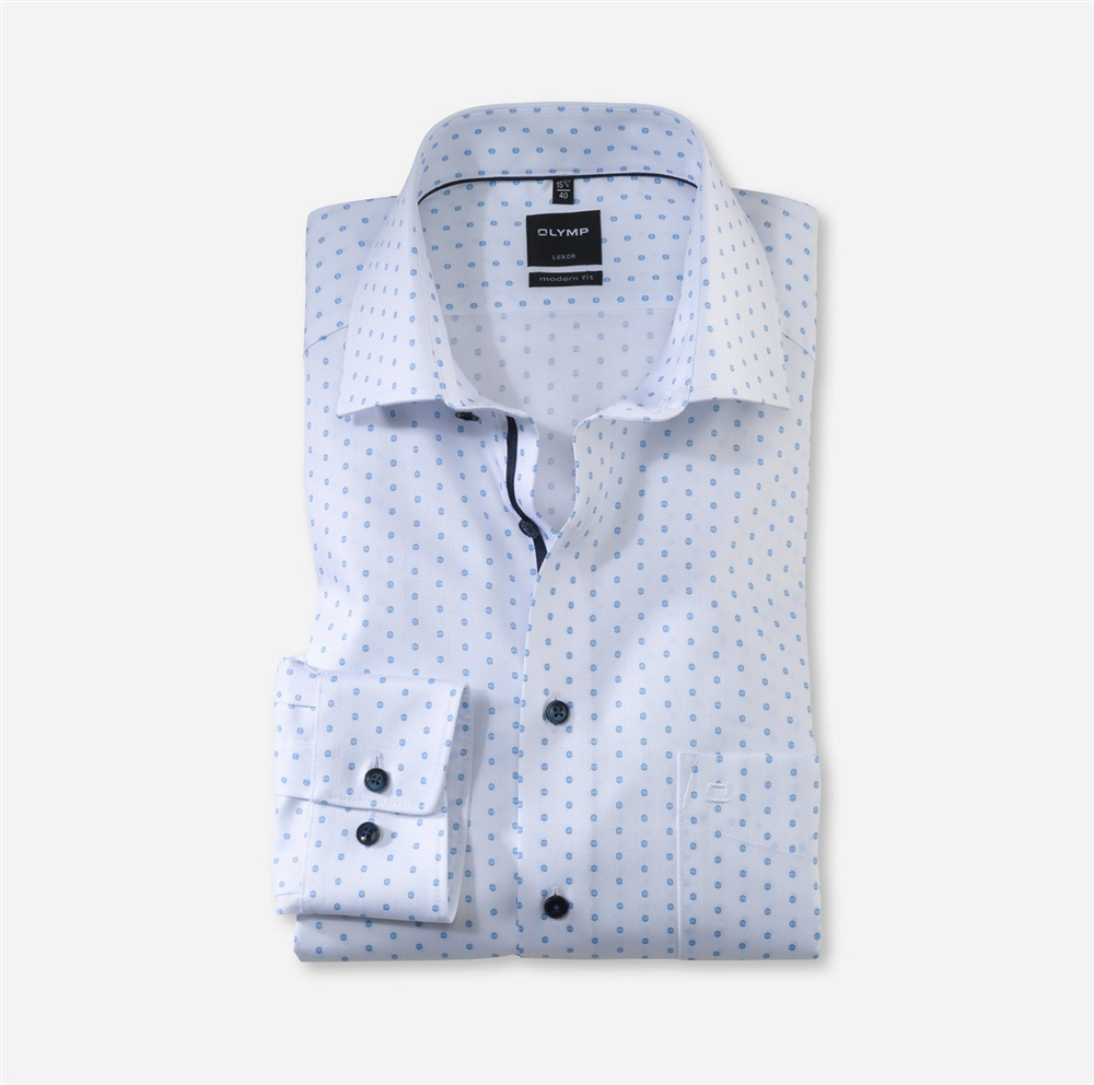 Olymp White - Small Design Mod Fit Shirt 1